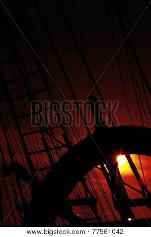 wheel and rigging of a sailing ship