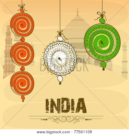Indian Republic Day and Independence Day celebration poster design with floral decorated hanging in national tricolor on historical monuments background.
