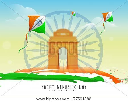 Flying kites in national flag color with India Gate and Ashoka Wheel on nature view background for Indian Republic Day celebration.