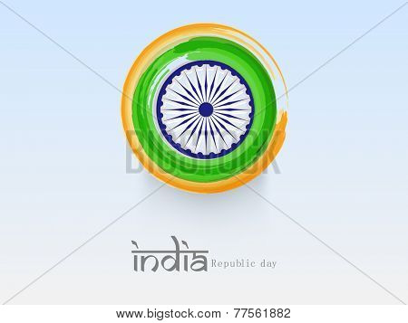 National flag color paint stroke with Ashoka Wheel for Indian Republic Day celebration on shiny sky blue background.