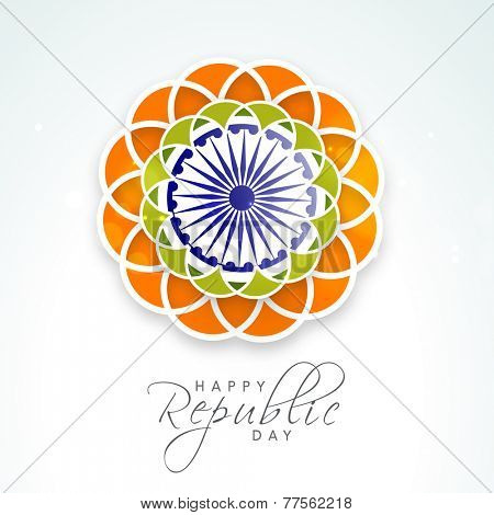 Beautiful flower design in national tricolor with Ashoka Wheel on shiny sky blue background for Indian Republic Day celebration.