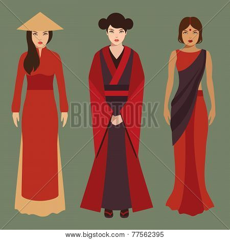 chinese, japanese and indian women