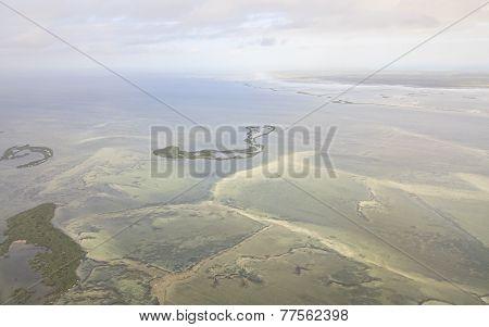 Ecological catastrophe the dam in the Atlantic Ocean. Cayo Coco.