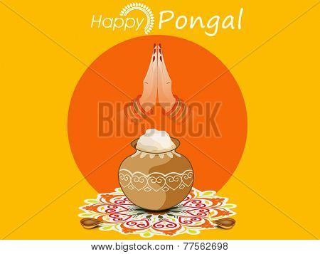 Happy Pongal celebration concept with rice in traditional pot, illuminated lit lamps and woman hand in Indian greeting pose namaste on colorful rangoli decorated yellow background.