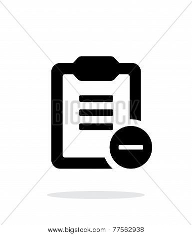 Minus clipboard simple icon on white background.
