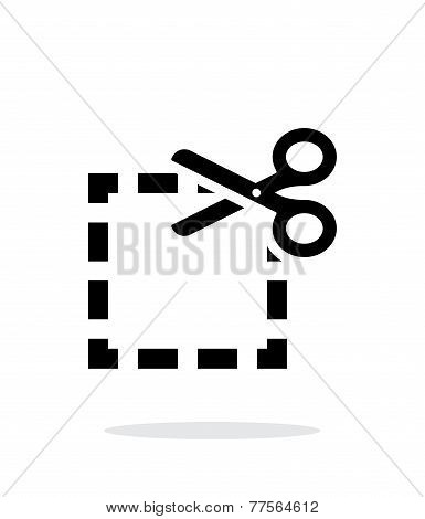 Cut square icon on white background.