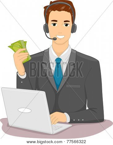 Illustration Featuring a Man Making a Lot of Money From His Online Job
