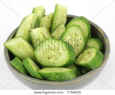 Overhead View Bowl Cucumbers