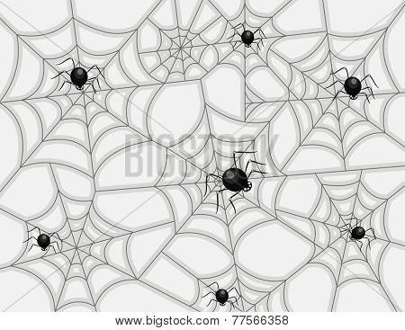 Illustration of a Group of Spiders Weaving Different Web Patterns