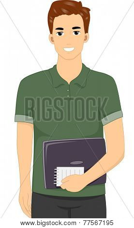 Illustration Featuring a Male Blogger Carrying a Notebook and a Notepad
