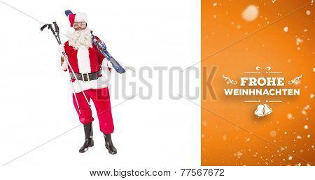 Santa claus holding ski and ski poles against orange vignette