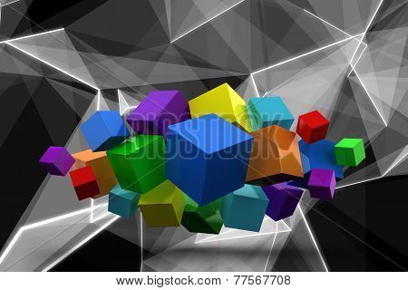 3d colourful cubes floating in a cluster against abstract glowing black background