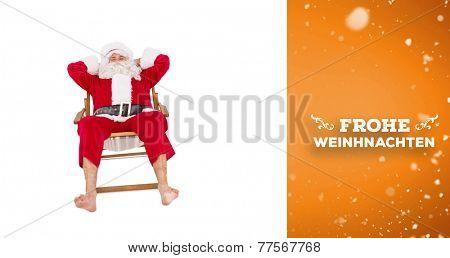 Happy santa relaxing on deckchair against orange vignette