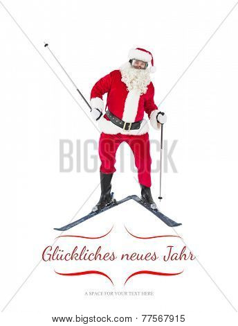 Portrait of happy santa claus skiing against border