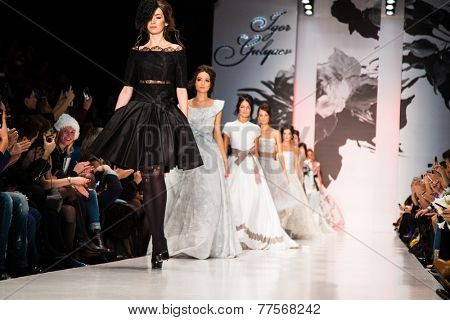 MOSCOW - OCTOBER 26: A model displays a creation by Russian designer Igor Gulyaev during Mercedes-Benz Fashion Week Russia on October 26, 2014 in Moscow, Russia.