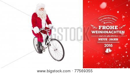 Cheerful father christmas cycling against red vignette