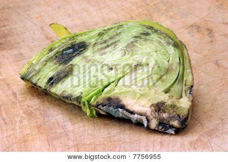 Moho vegetal orgánico insalubre a comer en un tablero de madera