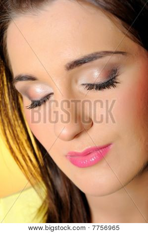Portrait Of Pretty Relaxed Woman With Natural Make-up