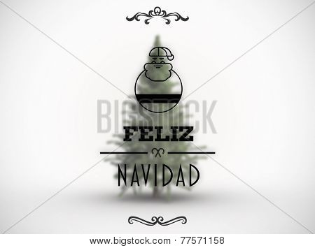 Feliz navidad banner against white background with vignette