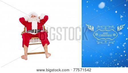 Happy santa relaxing on deckchair against blue vignette