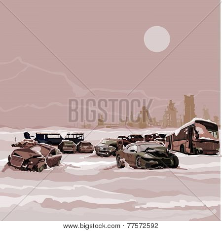 Dump Wrecked Cars Nuclear Winter Postapokalipsisa.eps