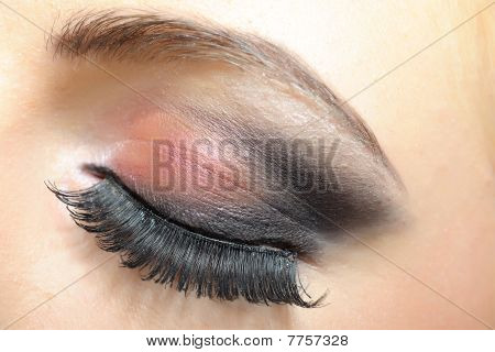 Elegant Woman Eye With Dark Make-up