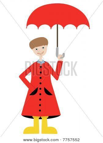 Boy holding umbrella wearing matching red raincoat
