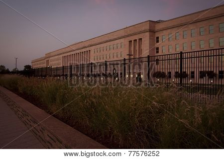 ARLINGTON, VA - SEPT 13, 2014: The decorative steel fence and granite wall that encloses the Pentagon Memorial, dedicated to the victims of the September 11, 2001 attack.