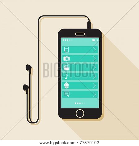 Illustration with a mobile phone. device in flat style with a media gallery interface, headphones an