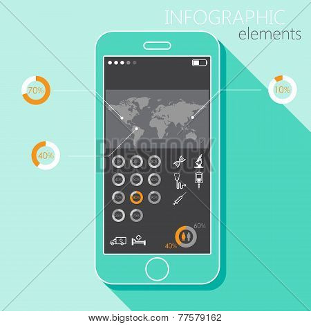 Illustration with a mobile phone. Set of infographic elements in flat style with the world map, medi