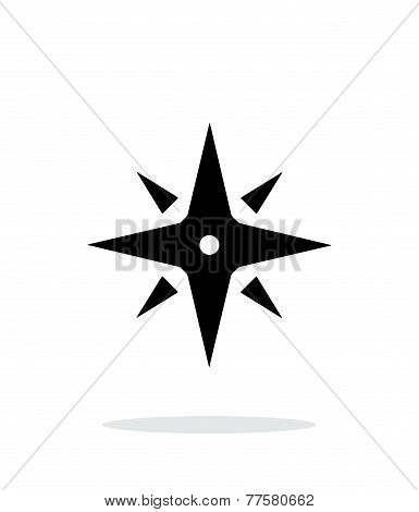 Wind rose icon on white background. Navigation sign.