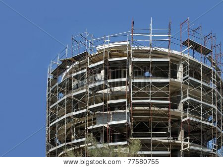 cylindrical shape building under construction