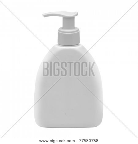 white plastic dispenser isolated on white
