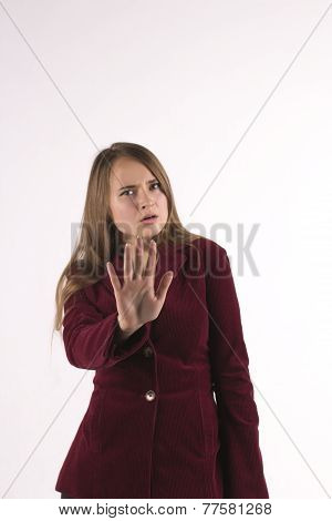 Serious Woman Making Stop Sign With His Hand