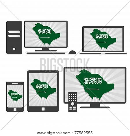 Electronic Devices With The Map Of Saudi Arabia