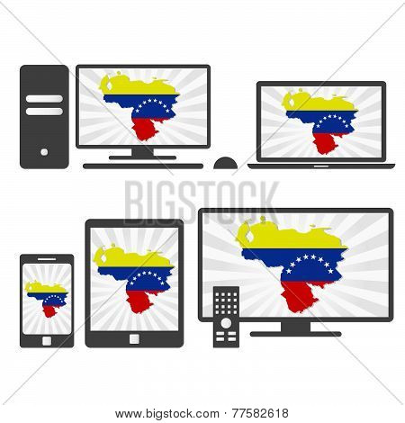Electronic Devices With The Map Of Venezuela
