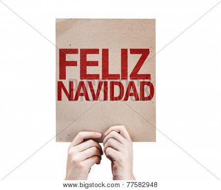 Merry Christmas (In Spanish) card isolated on white background