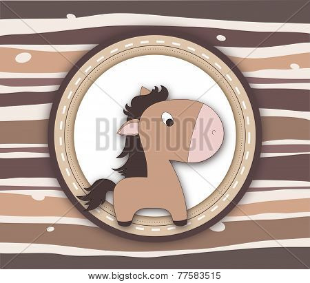 Brown Pony Label Card On Stripey Background