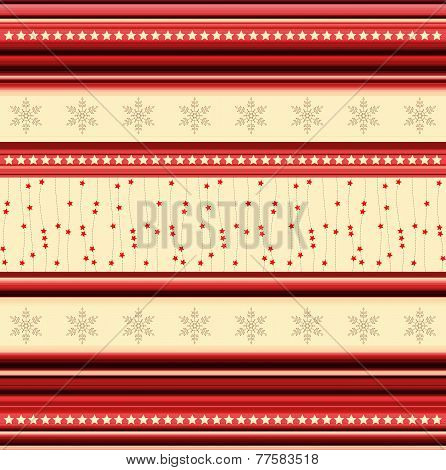 Christmas Stripy Pattern With Stars And Snowflakes