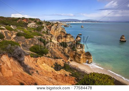 Cliff and beach - Ponta de Piedade, Portugal