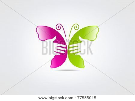 Beauty Butterfly Logo, Woman Healthy Handcare Icon