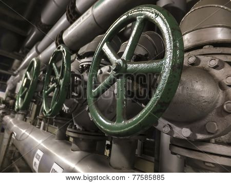 Large Valves With A Green Knob In The Installation Of Cold Water