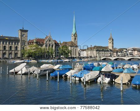 Boats On The Limmat And Fraumuenster