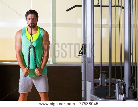Triceps pressdown high pulley workout man at gym exercise