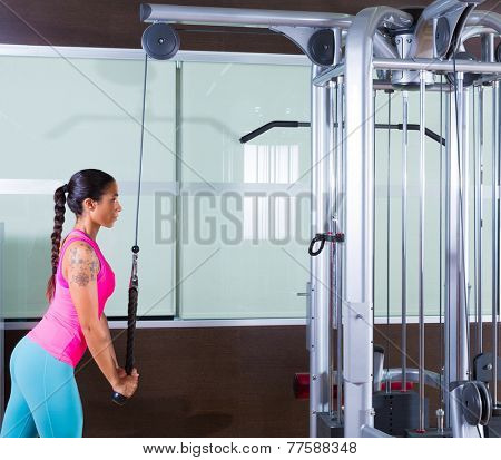 Triceps pressdown high pulley workout woman at gym exercise
