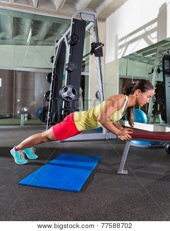bench triceps push up push-up woman at gym workout exercise