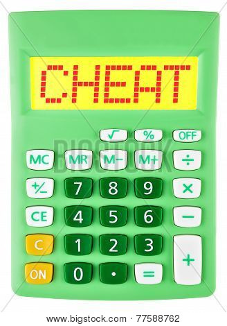 Calculator With Cheat On Display Isolated