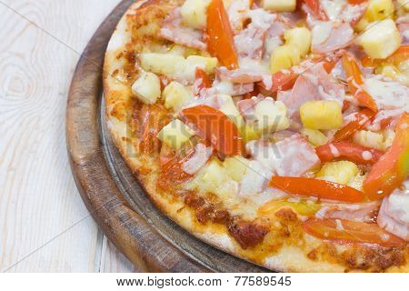 Hawaiian Pizza On Wood Table