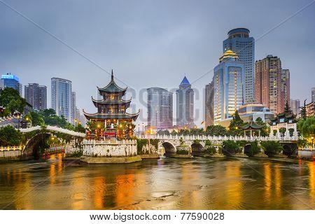 Guiyang, China city skyline on the river.