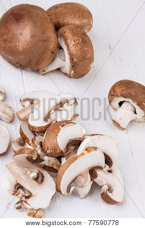 Diced And Whole Agaricus Brown Button Mushrooms